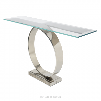 Tempest Console Table - Nickel / Glass